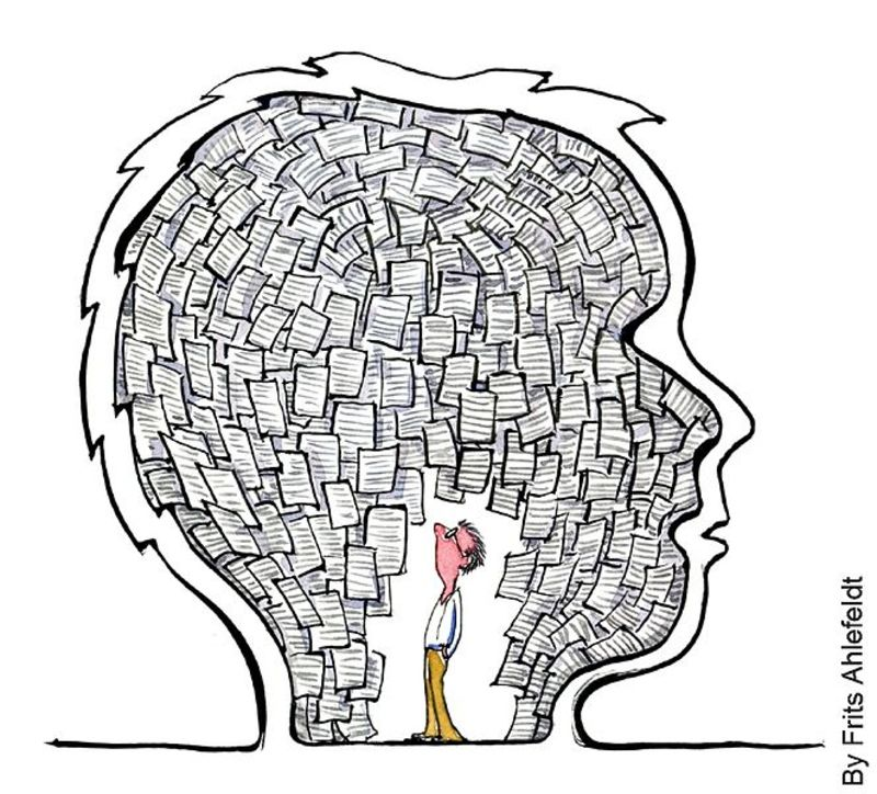 Man inside head full of notes  - Blame and Forgiveness